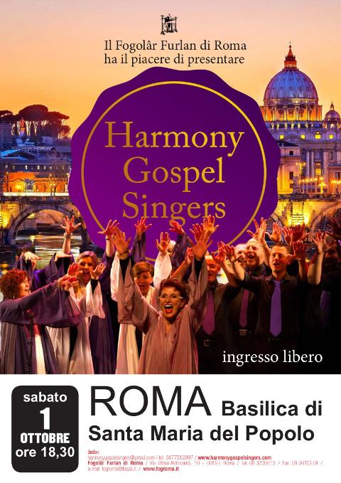 """Concerto degli """"Harmony Gospel Singers"""" sabato 1 ottobre 18,30 Basilica di Santa Maria del Popolo, a Piazza del Popolo – Roma."""