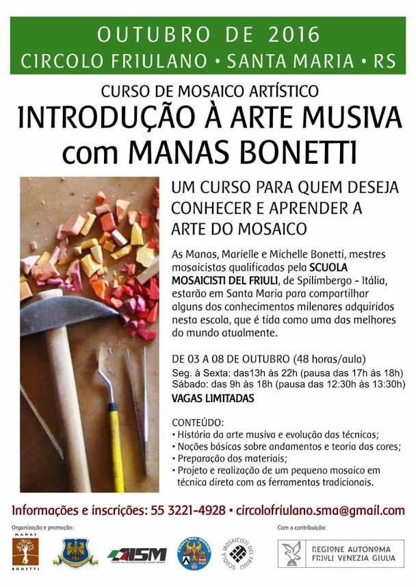 Primo corso di introduzione all'arte del mosaico a Santa Maria, Brasile
