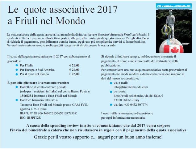 Le nuove quote associative 2017 a Friuli nel Mondo