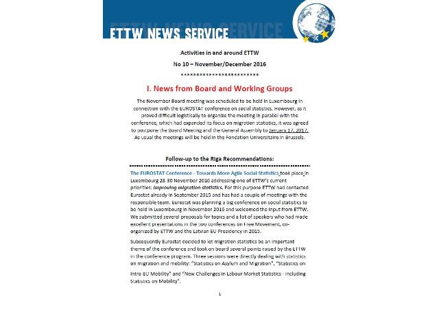ETTWS NEWS Service n.10 (November- December 2016)