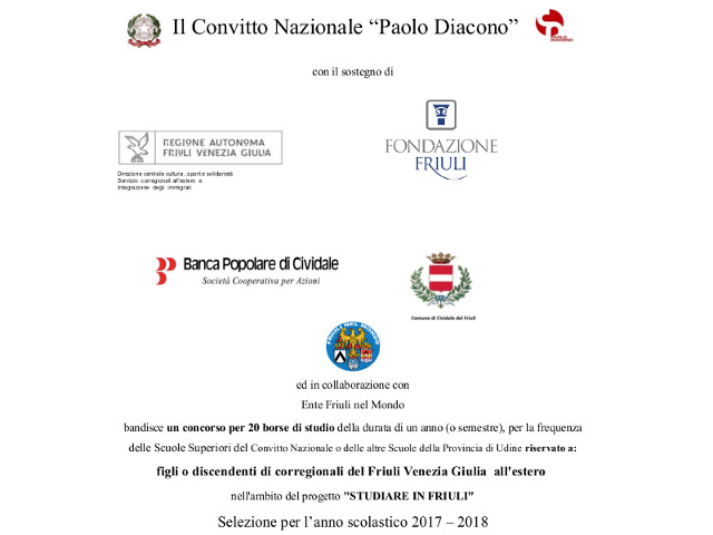 Bando Progetto STUDIARE IN FRIULI 2017 – 2018