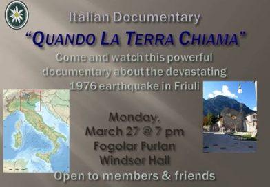"""Proiezione documentario """"Quando la terra chiama"""" al Fogolâr Furlan di Windsor (27 marzo, 19.00)"""
