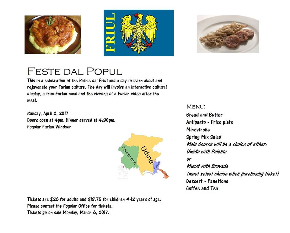 Feste dal Popul (Fogolâr Furlan Windsor – 2 aprile, h 16.00)