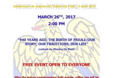 Festa Patria del Friûl (Fogolâr Furlan Hamilton, Canada – 26 marzo)