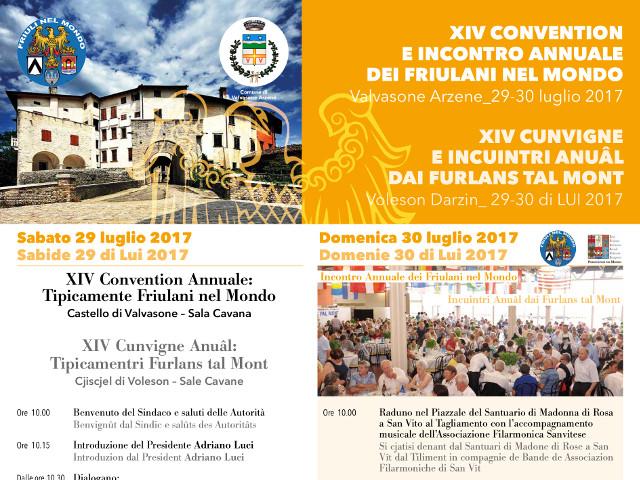XIV Convention e Incontro Annuale dei Friulani nel Mondo (Valvasone Arzene, sabato 29 e domenica 30 luglio 2017)