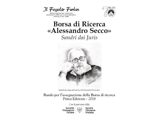 """Fogolâr Furlan di Milano. Borsa di ricerca """"Alessandro Secco"""", prima edizione – 2018"""