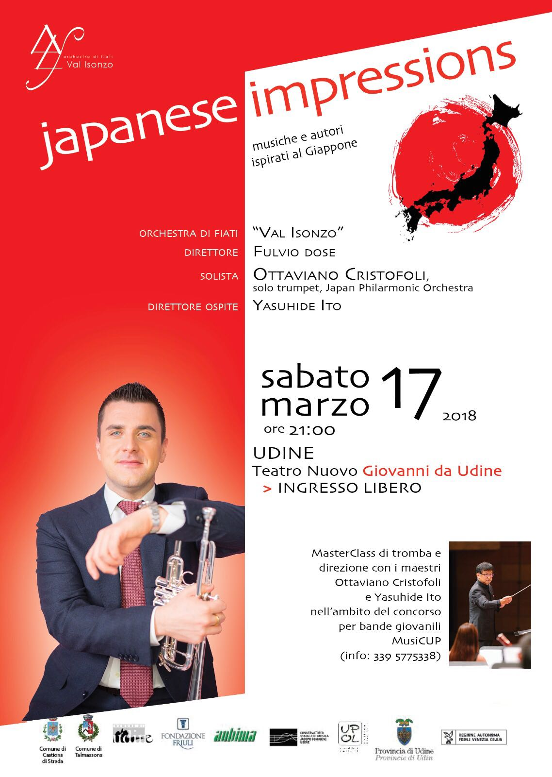 Ottaviano Cristofoli, vicepresidente del Fogolâr Furlan di Tokyo, in concerto a Udine (sabato 17 marzo, ore 21.00, Teatro Nuovo Giovanni da Udine).