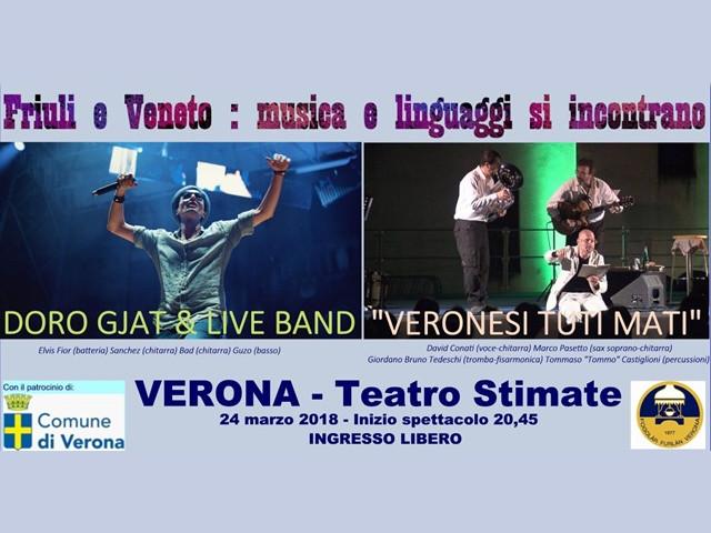 Friuli e Veneto: musica e linguaggi si incontrano (Fogolâr Furlan di Verona, sabato 24 marzo, ore 20.45 – Teatro Stabile, Verona – ingresso libero)