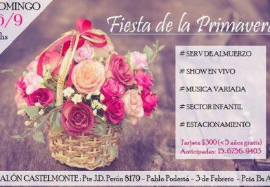 Fiesta de la Primavera (Unione Friulana Castelmonte, domenica 16 settembre dalle ore 12.00 – Pte. J.D. Peròn 8179, Pablo Podestà, 3 de Febrero, P.cia Buenos Aires)