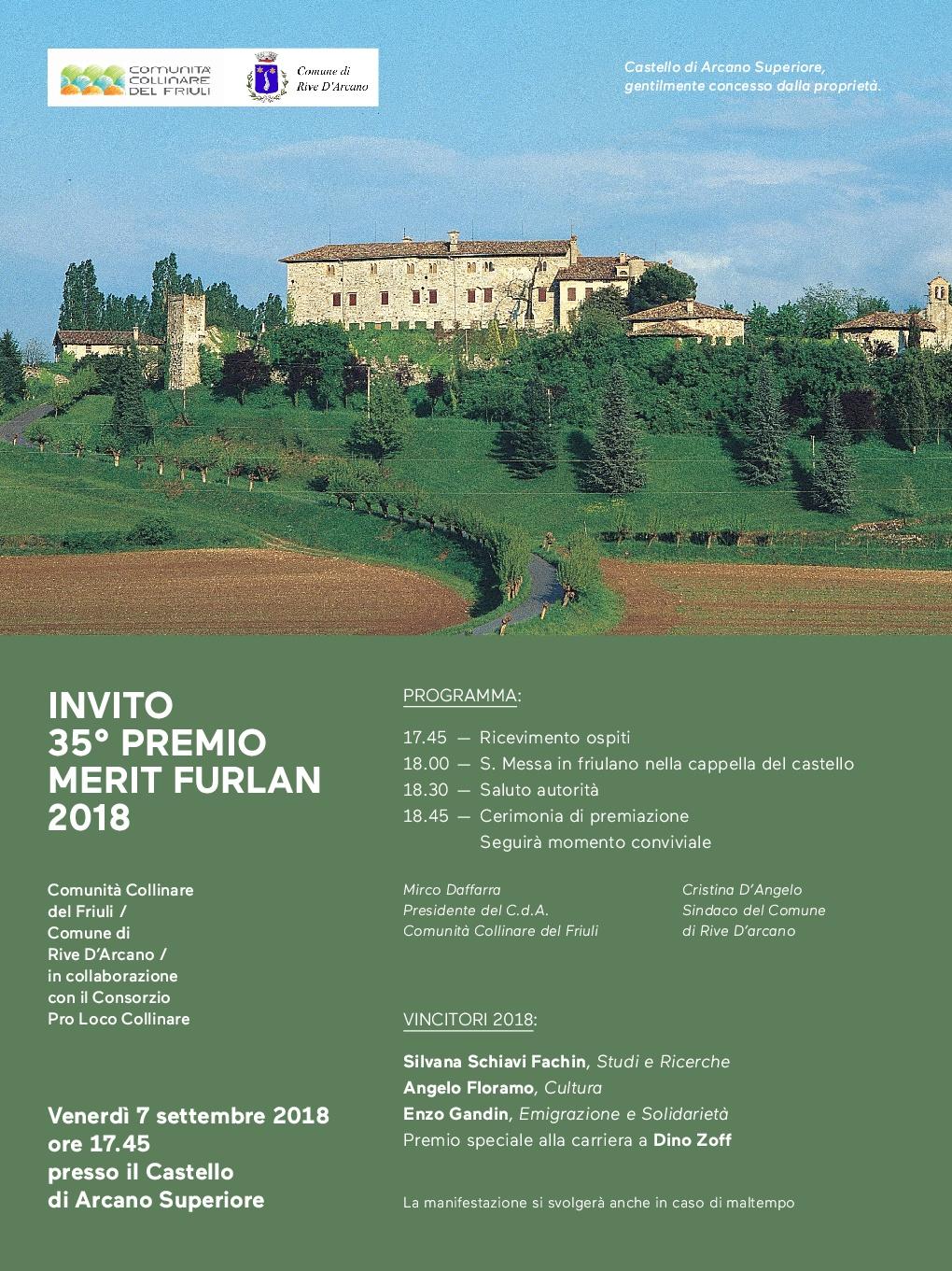 """35° premio Merit Furlan"""" (Castello di Arcano Superiore, Rive D'Arcano – venerdì 7 settembre, ore 17.45)"""