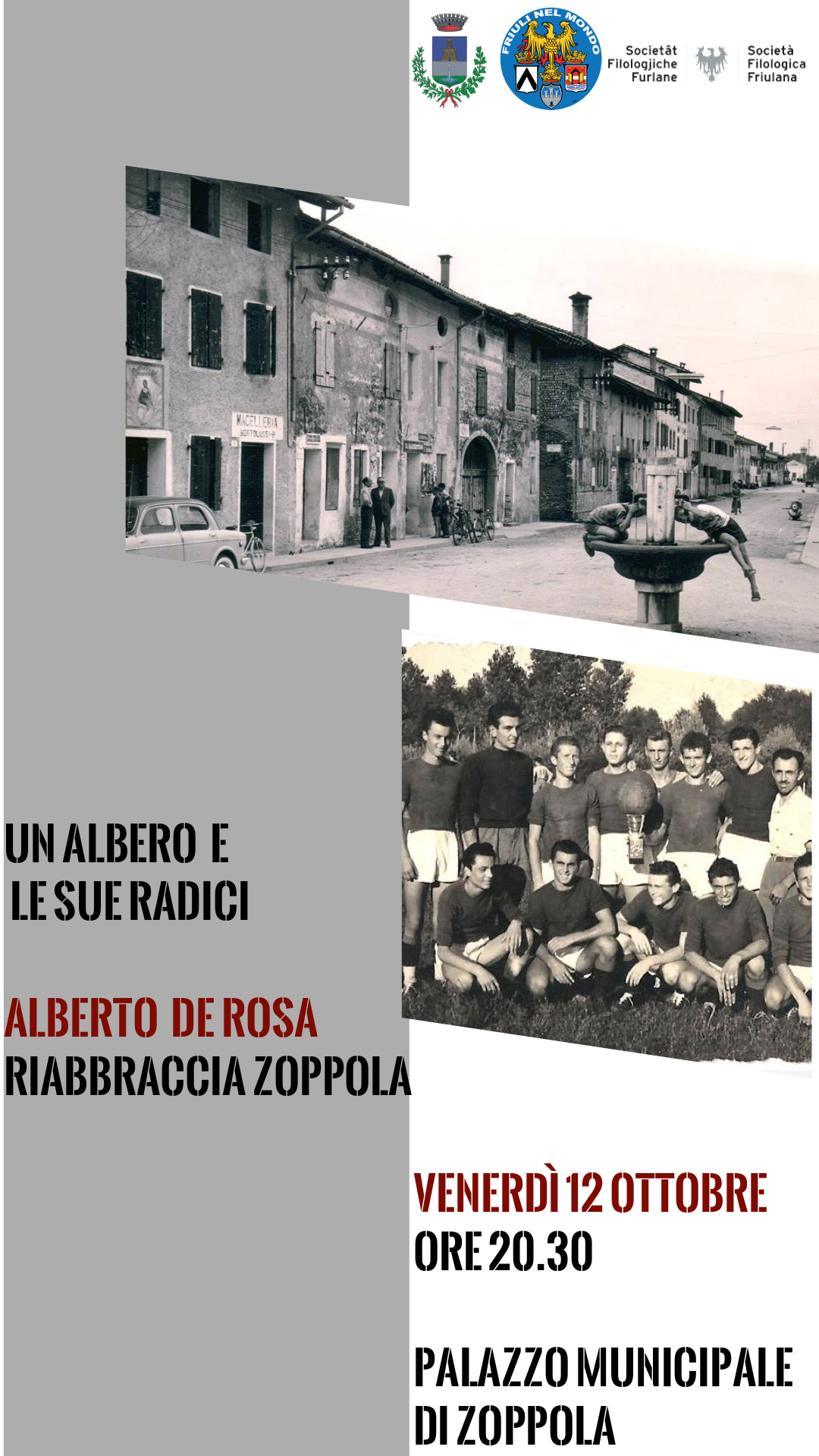 Un albero e le sue radici. Alberto De Rosa riabbraccia Zoppola (venerdì 12 ottobre, ore 20.30, Palazzo Municipale di Zoppola, via A. Romanò 14)