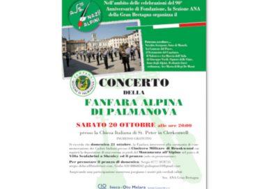 Concerto della Fanfara Alpina di Palmanova (Londra, sabato 20 ottobre, ore 20, Chiesa italiana di St. Peter in Clerkenwell. Ingresso gratuito)