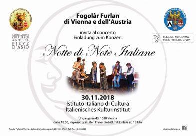 """Concerto """"Notte di Note Italiane"""" (Fogolâr Furlan di Vienna e dall'Austria, venerdì 30 novembre, ore 18, Istituto Italiano di Cultura, Ungargasse 43, Vienna)"""
