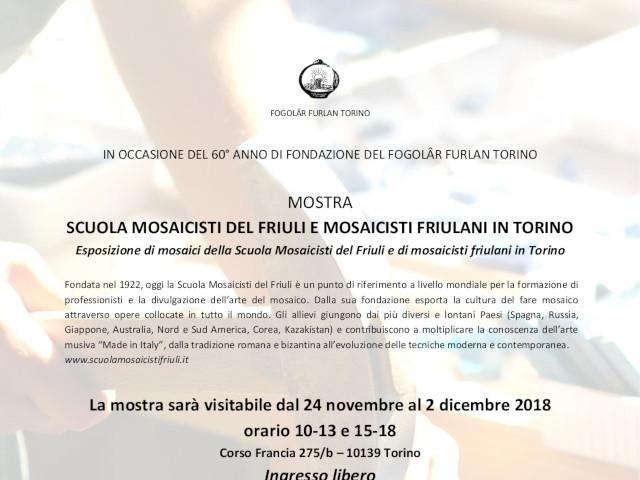 """Mostra """"Scuola Mosaicisti del Friuli e mosaicisti friulani a Torino"""" (Fogolâr Furlan di Torino, dal 24 novembre al 2 dicembre 2018 – Corso Francia 275/b – 10139 Torino)"""