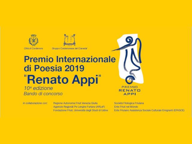 """10^ edizione del Premio Internazionale di Poesia 2019 """"Renato Appi"""" (termine di presentazione 30 aprile 2019)"""