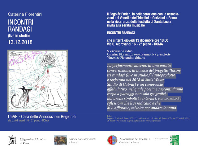 """Serata Musicale """"Incontri Randagi"""" (Fogolâr Furlan di Roma, giovedì 13 dicembre, ore 18.00, via U. Aldrovandi 16 – Roma)"""