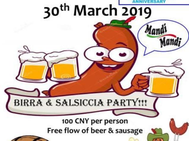 Birra&Salsiccia party (Fogolâr Furlan di Shanghai, sabato 30 marzo 2019)