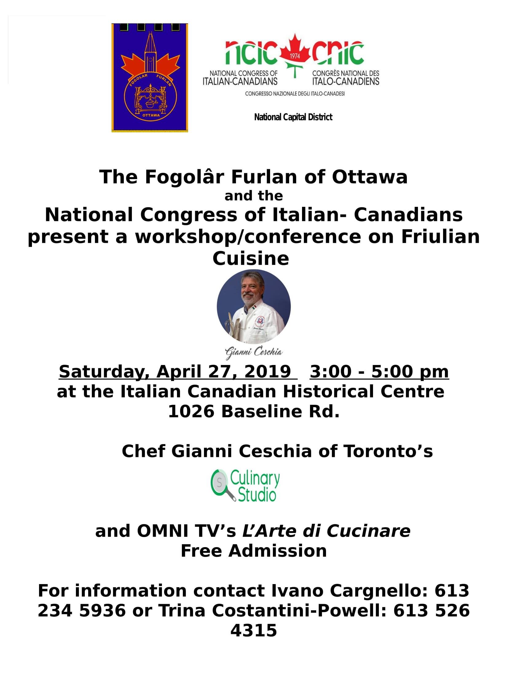 50° anniversario Fogolâr Furlan di Ottawa (Ottawa, sabato 27 aprile 2019, ore 15 – Italian Canadian Historical Centre  1026 Baseline Rd)