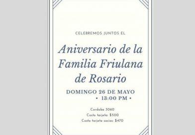 Anniversario Familia Friulana de Rosario (Rosario, Santa Fe, domenica 26 maggio, ore 13.30)