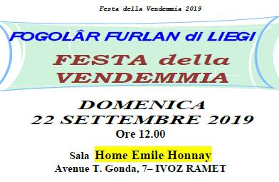 Festa della Vendemmia (Fogolâr Furlan di Liegi, domenica 22 settembre, ore 12.00 – Sala Home Emilie Honnay, Ivoz-Ramet)