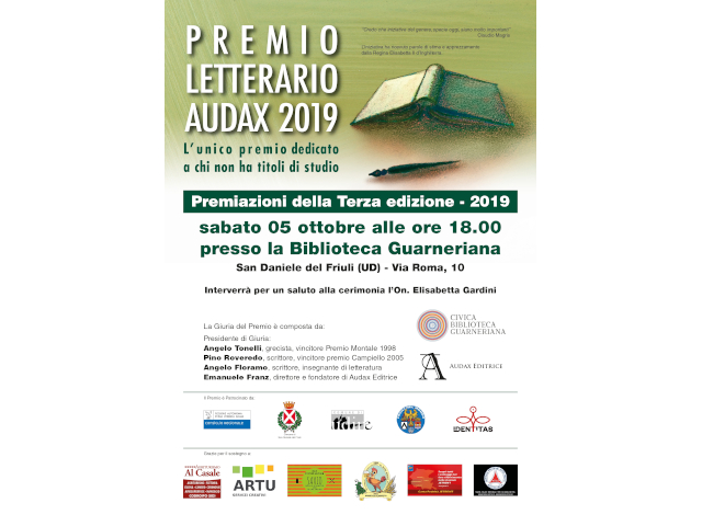 Premio letterario Audax (sabato 5 ottobre, Biblioteca Guarneriana di San Daniele)