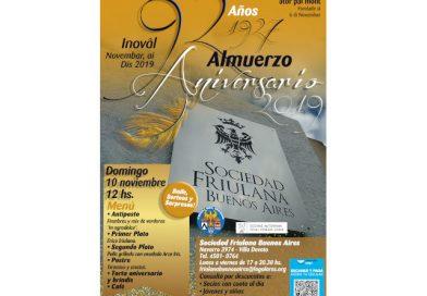 La Sociedad Friulana Buenos Aires, sabato 10 novembre festeggia i 92 anni del Sodalizio.