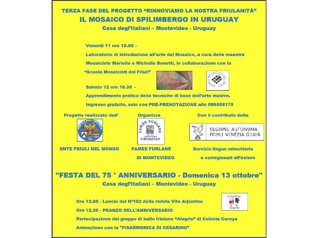 Terza fase del progetto RINNOVIAMO LA NOSTRA FRIULANITA' (Montevideo – Uruguay, 11-12-13 ottobre 2019)