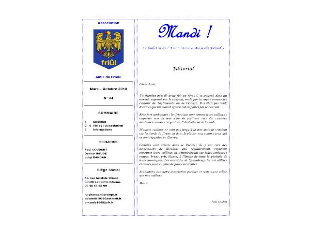 """MANDI ! – Il bollettino n. 44 de l'Association """"Amis du Frioul"""""""