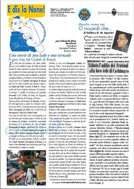 E dîs La None – N. 7 Rivista della Sociedad Friulana di Buenos Aires