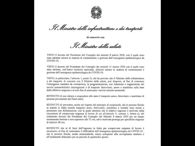 EMERGENZA COVID-19 Decreto del 17.03.2020: quarantena per chi rientra dall'estero
