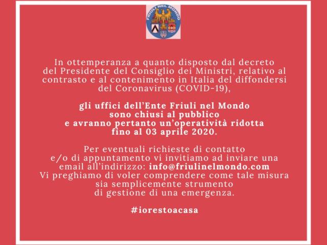 Uffici chiusi al pubblico per Emergenza COVID-19