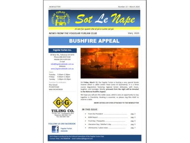 New Sot le Nape – Mar 2020 – Fogolâr Furlan Adelaide