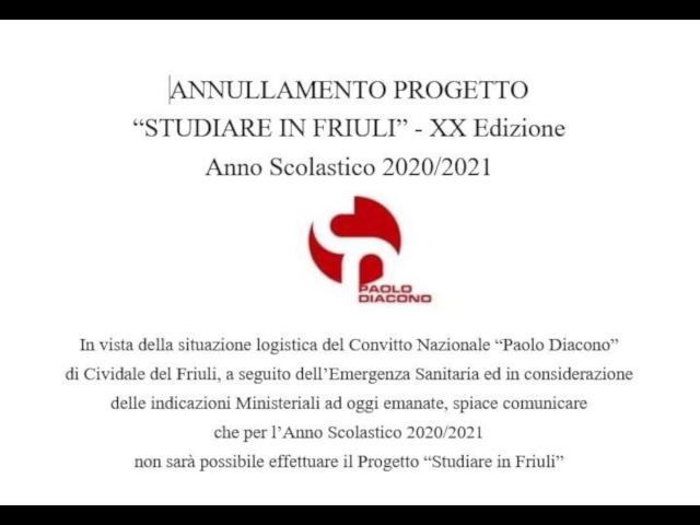 """ANNULLAMENTO Progetto """"Studiare in Friuli"""" – Anno Scolastico 2020-2021"""