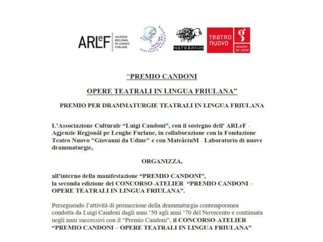 """BANDO SECONDA EDIZIONE PREMIO CANDONI """"CONCORSO-ATELIER OPERE TEATRALI IN LINGUA FRIULANA"""" 2020 – Scadenza invio prima documentazione: 26 settembre 2020"""