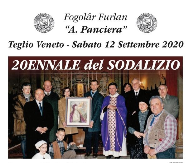 """Sabato 12 settembre si celebra il 20° Anniversario del Fogolâr Furlan """"Antonio Panciera"""" di Teglio Veneto"""