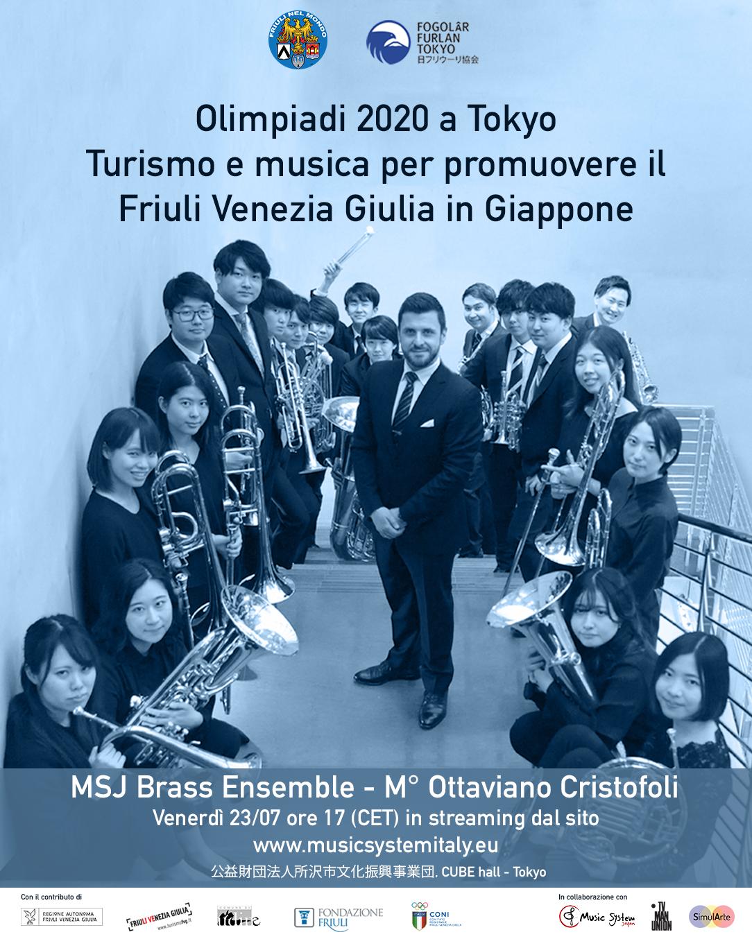 """""""Olimpiadi 2020 a Tokyo: turismo e musica per promuovere il Friuli Venezia Giulia in Giappone""""- Venerdì 23 luglio 2021 alle ore 17.00 CET"""