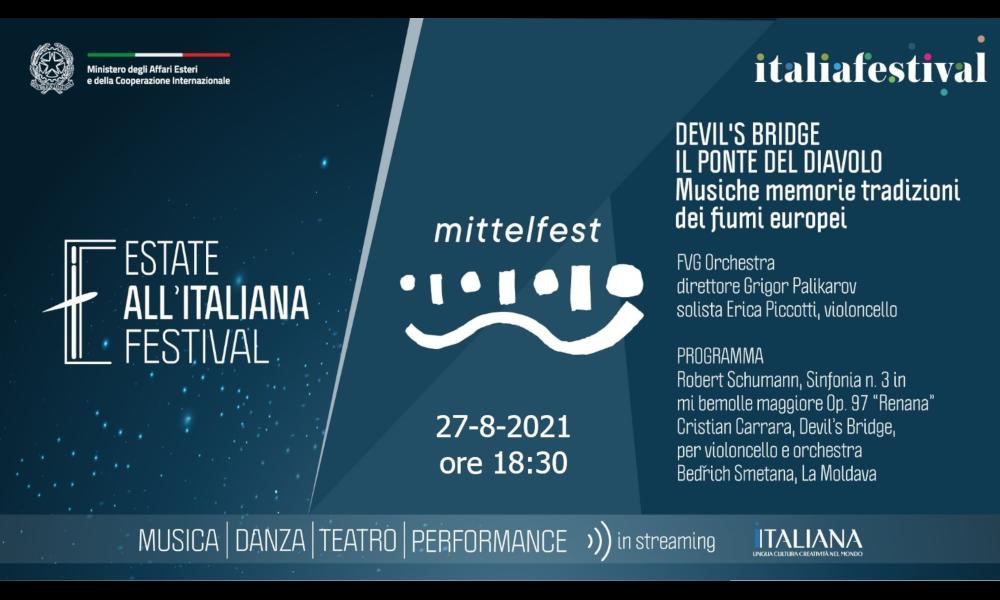"""DEVIL'S BRIDGE/IL PONTE DEL DIAVOLO: il concerto di apertura di Mittelfest 2021 """"Eredi"""" in diretta streaming sul nostro sito venerdì 27 agosto ore 18.30"""